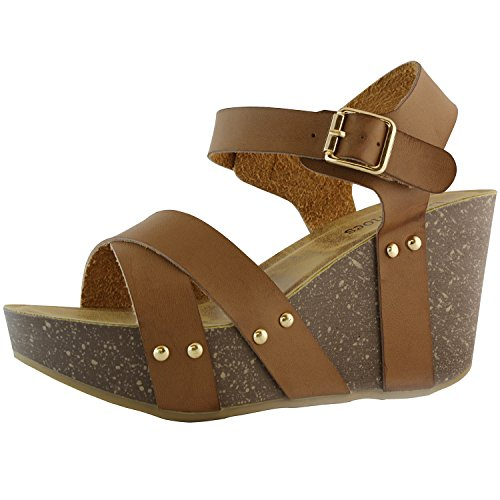 DailyShoes Women's Women's Women's Platform Wedge Sandals Slide on Comfort Thick Cork Board Criss Cross Sandal Buckle Shoes, Brown PU, 9.5 B(M) US (Wedge Womens Brown Heel)