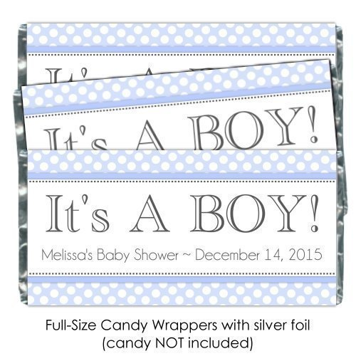 25 It's A Boy Baby Shower Candy Wrappers, Blue polka dot baby shower, Birth Announcement candy (Announcement Candy Wrappers)