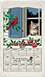 2017 Kitchen Linen Calendar Towel with Dowel for Easy Hanging (Window Kitty & Red Cardinal)