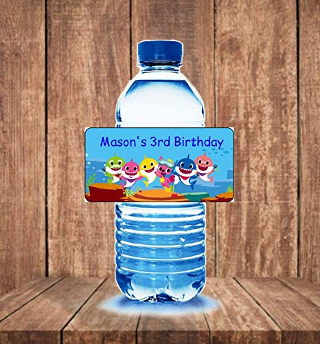 20 Personalized Baby shark water bottle labels ()