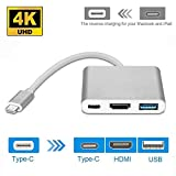Qicai H Type-C to HDMI/USB 3.1 Type-C 4K Multiport Adapter, USB-C HDMI Digital AV Adapter Charging & Connecting Converter for MacBook/Chromebook Pixel/Samsung S8/ Mate 10, Silver