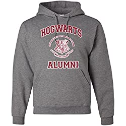 Hogwarts Alumni Harry Potter Unisex Hooded Sweatshirt Fashion Hoodie ( Heather Grey , Small )