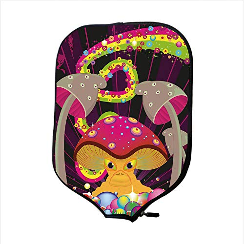 (Neoprene Pickleball Paddle Racket Cover Case,Mushroom,Vibrant Psychedelic Composition with Fantastic Mushroom Floral Rainbow Color Blots Decorative,Multicolor,Fit For Most Rackets - Protect Your Paddl)