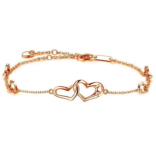 DESIMTION Anklet Sterling Silver Infinity Heart Foot Rose Gold Adjustable Anklets Ankle Bracelets for Women Gift for Mother's Day (D-Rose Gold Heart Anklets)