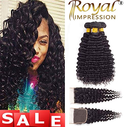 Brazilian Virgin Pineapple Deep Wave 3 Bundles with Closure Natural Color 10A Virgin Remy Hair with Lace Closure Free Part (20