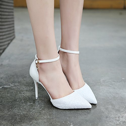 SHOESHAOGE Piliang En Cuir Pièce Lumineuse Avec Un Mot, Boucle De Printemps Été Cool Lady Chaussures Unique Couleur unie