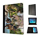 1060 - cool fun dinosaur art t-rex triceratops stegosaurus spinosaurus Design Apple ipad 2 ipad 3 ipad 4 Fashion Trend TPU Leather Flip Case Protective Purse Pouch Book Style Defender Stand Cover