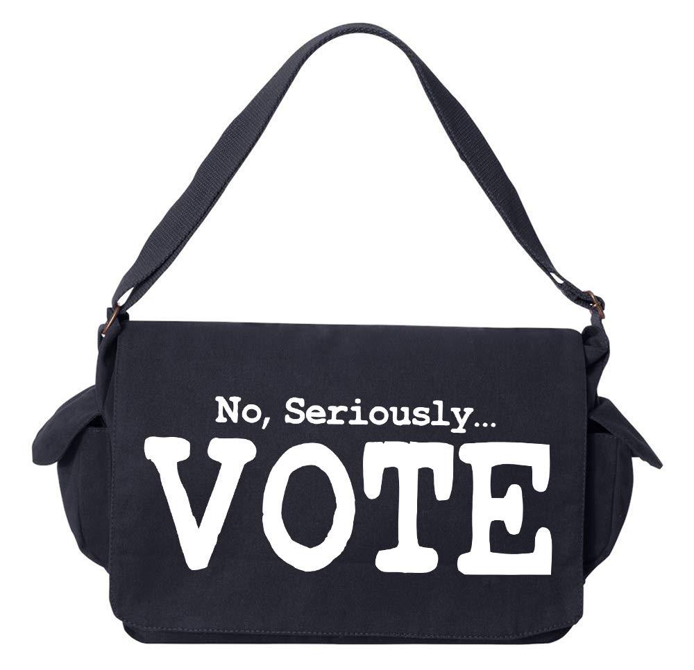 Vote Khaki Green Raw Edge Canvas Messenger Bag Tenacitee No Seriously