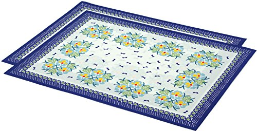 2 Place Mats 16 by 12-inch (Polish Pottery Set of Blue Boutiques Theme) (Pottery Place)