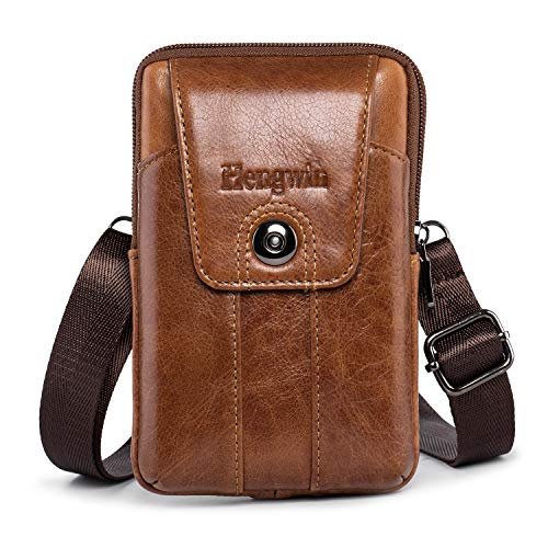 Pofomede Cell Phone Holster Vertical Genuine Leather Belt Case Pouch Loop Strap Compatible for iPhone XR XS X 7 8 Plus XS Max Belt Carrier Holder for Galaxy S8/9/10 Plus Note 9 8 5 Phone Sleeve Brown