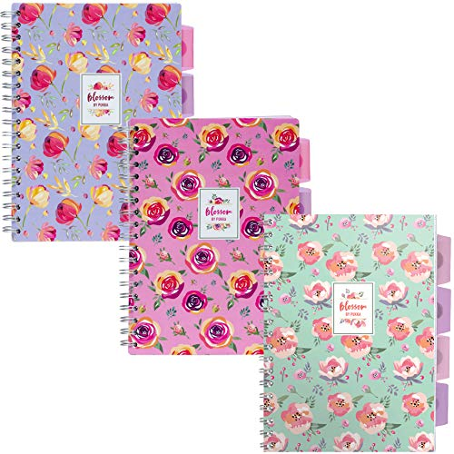 Pukka Pad 5-Subject Divider Ruled Notebook, 3-Pack, 7 x 10 inch, 100 80 GSM Wgt. Sheets, 1 Pink 1 Green 1 Purple