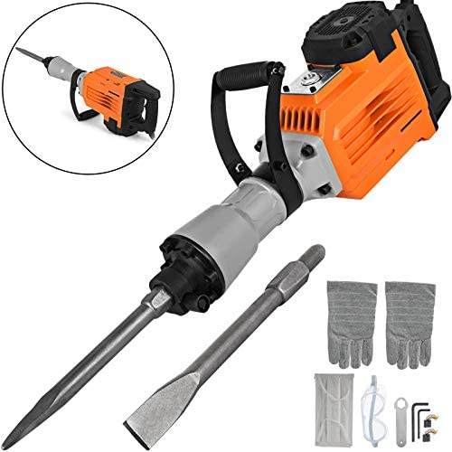 Mophorn 3600W Electric Demolition Hammer Heavy Duty Concrete Breaker 1800 RPM Jack Hammer Demolition Drills with Flat Chisel Bull Point Chisel 3600 W