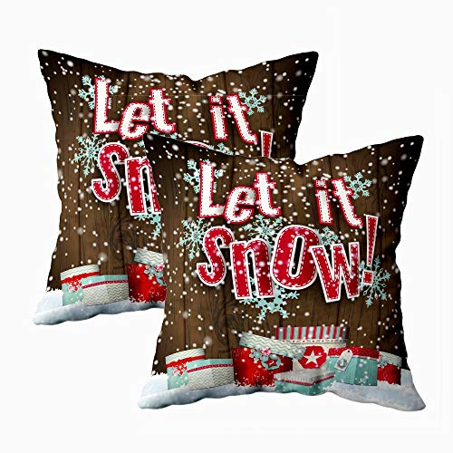 Anucky Farmhouse Christmas Ornaments Christmas Pillow Covers,Christmas Decor Holiday Winter Cold Weather Seasonal Calm Scenery Bedroom Holiday Decorations 18X18 Set of 2 Inch Decorative Pillow Covers from Anucky