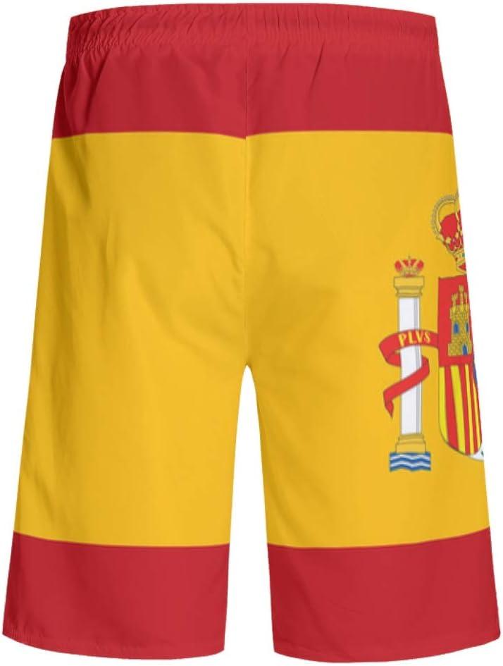 EUNNT - Pantalones cortos de playa con estampado de bandera de España con bolsillos, Hombre, color blanco, tamaño small: Amazon.es: Deportes y aire libre