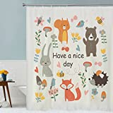 QIHUA Printing cartoon animal shower curtain with Hooks Bathroom Accessories Mildew Resistant Waterproof Polyester Fabric shower curtain72 72''