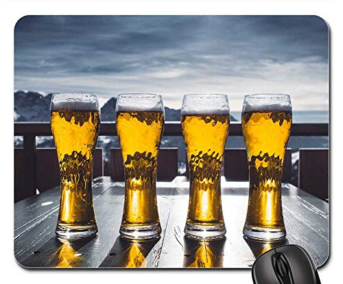 Mouse Pad - Beer Glass Table Sky Mountains Ski Winter Snow