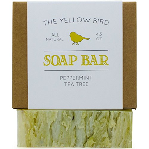 (Peppermint & Tea Tree Soap Bar. All Natural Antifungal Soap for Acne, Athlete's Foot, Ringworm, Jock Itch. Organic Body & Face Wash for Men and Women)