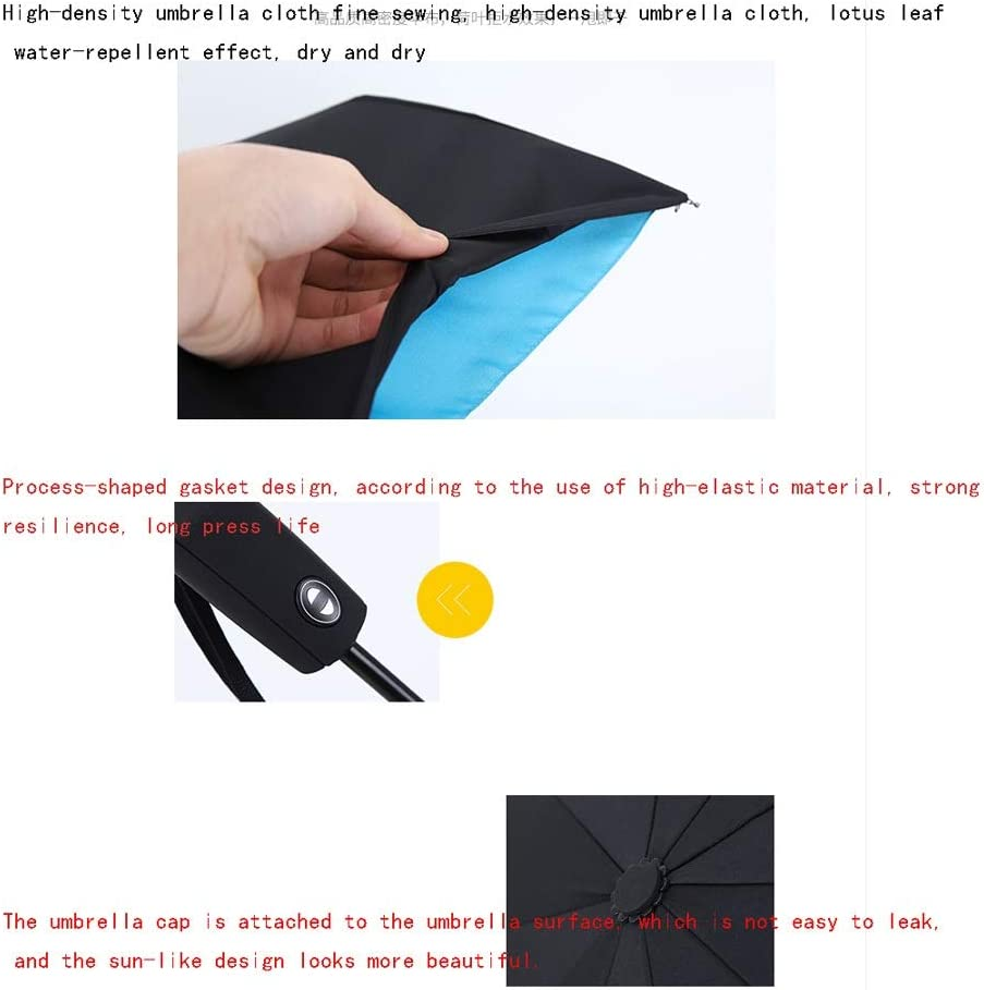 Automatic Umbrella for Men and Women Rain and Sun Dual-use Sun Umbrella Blocking UV Sun Umbrella Color : Black Jiu Si