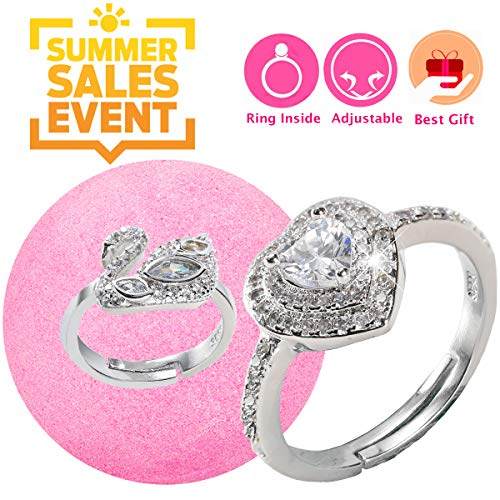 - Jewelry Bath Bomb with Ring Surprise Prizes Gift Inside for Women Kids Bath Bomb Hidden Diamond Heart Rings One Sizes Fit All Best Summer Gift Set for Women Girl