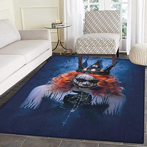 Queen Rugs for Bedroom Queen of Death Scary Body Art Halloween Evil Face Bizarre Make Up Zombie Circle Rugs for Living Room 2'x3' Navy Blue Orange Black]()