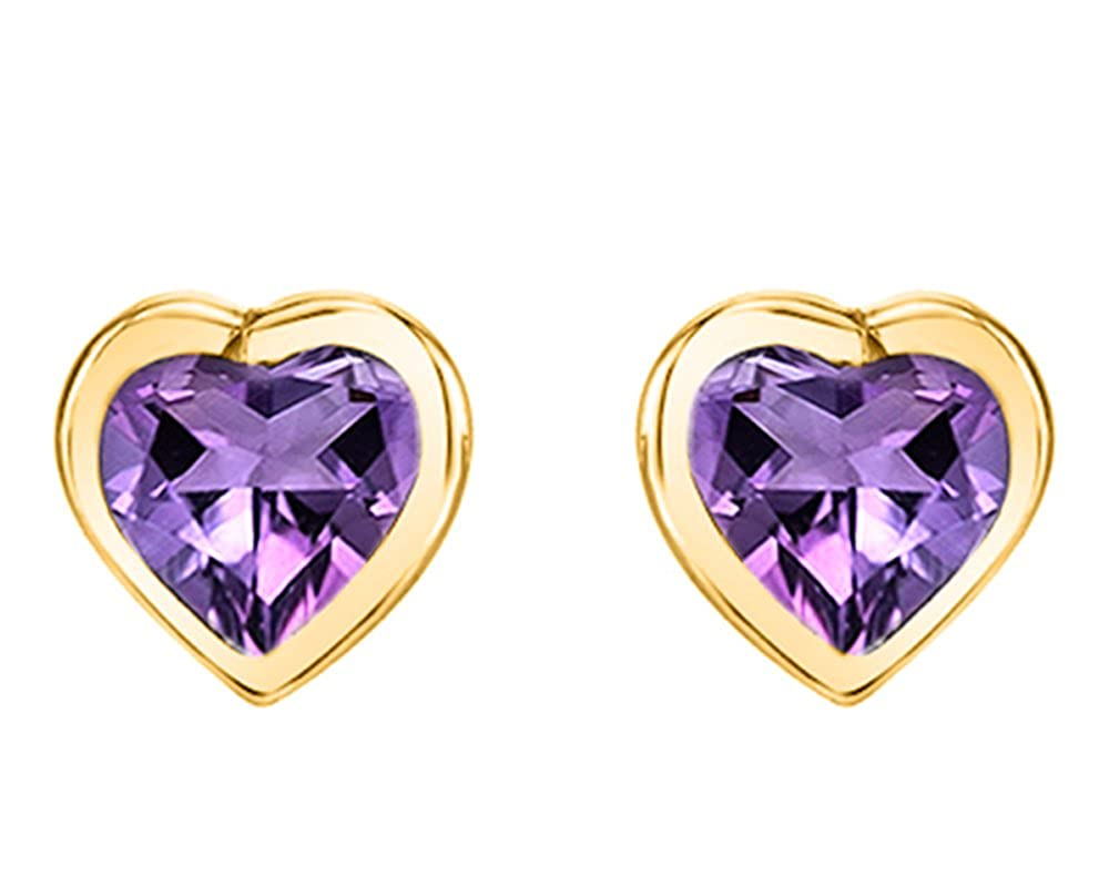 Simulated Garnet Heart Solitaire Stud Earrings 14K Rose Gold Over Sterling Silver