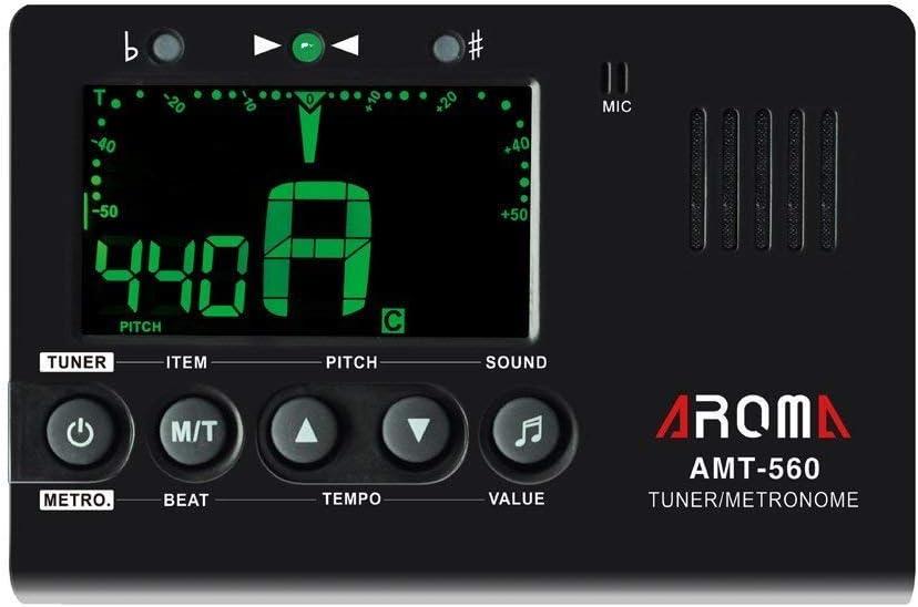 Metronomo y afinador cromatico con generador de tono Aroma AMT-560 para guitarra bajo violin y ukelele