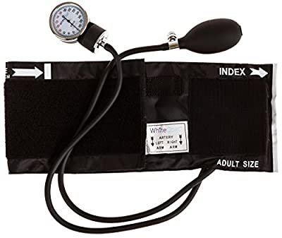 White Coat Deluxe Aneroid Sphygmomanometer Professional Blood Pressure Cuff Monitor with Adult Sized Black Cuff and Carrying Case