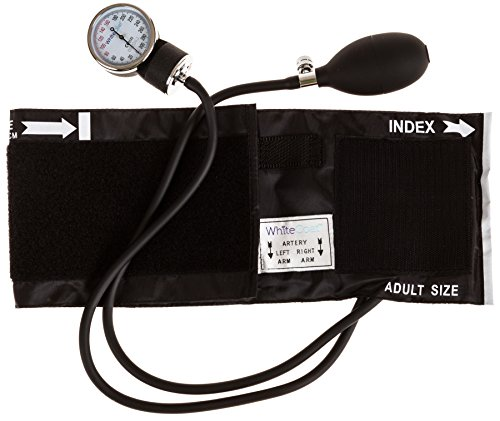 White Coat Deluxe Aneroid Sphygmomanometer Professional Blood Pressure Cuff Monitor with Adult Sized Black Cuff and Carrying Case (Adult Blood Pressure Cuff Set compare prices)