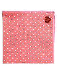 Pañuelo de bolsillo 100% algodón, Diseño de lunares rosas C/ botón, Colección de Puentes Denver