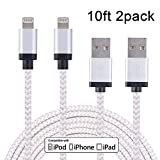 Xcords(TM) 2Pack 10Ft iPhone Lightning to USB Syncing and Charging Cord Data Cable with Aluminum Alloy Connector for iPhone 6/ 6 Plus/ 6s/ 6s Plus /5/5s/5c iPad Mini/ Air