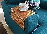 regali per la casa Vassoio da divano flessibile di bambù naturale con finitura marrone. Vassoio per bracciolo divano. Divano tavola. Vassoio del caffè. Regalo ecologico. Regalo per lui e lei