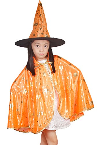 [Urban CoCo Halloween Pattern Printed Design Witch Hat and Cloak Cape Party Costume (S, Orange)] (Urban Vampire Costume)