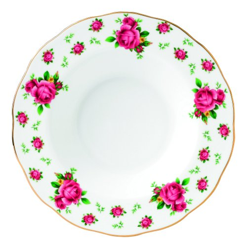 Royal Albert New Country Roses Formal Vintage Rimmed Soup/Salad Bowl, 11-Inch, White ()