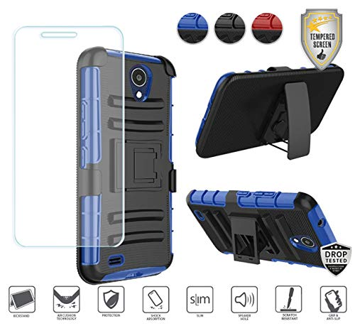 Compatible for At&t Axia QS5509a Case, Cricket Vision Case with Holster, with Tempered Glass Screen Protector, Premium Holster Hybrid Combo Case [Clip] with Stand [Shockproof] [Armor] (Black/Blue) ()