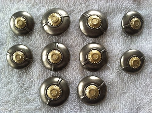5/8' Gold Shank Button (Gold & Silver Designer Buttons Sets for Coat Large 10 Pc. (2))