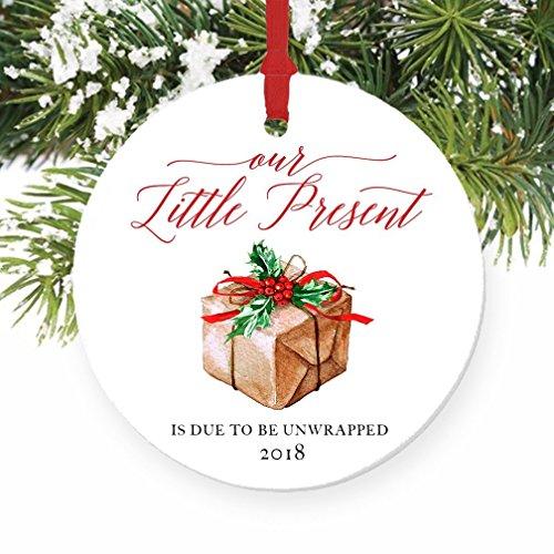 Pregnancy Announcement 2018 Ornament, Expecting Parents Our Little Present Porcelain Ceramic Ornament, 3