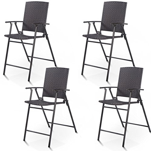 Giantex Folding Wicker Rattan Bar Chairs Tall Stool with Back Steel Frame Portable Outdoor Indoor UV Resistant Barstools Garden Patio Furniture Set w/Armrests Footrest (Set of 4 Rattan Wicker) ()