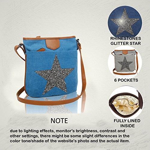 Ash Sparkling Redfox Women's Vintage Star Big Rhinestones Slim Canvas Shoulder Bag Messenger Grey q5PwSp5