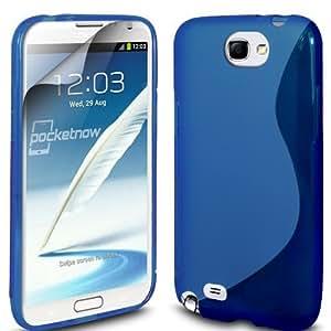 (Azul) Samsung Galaxy Nota N7100 2 Protección Línea de cubierta de la caja de gel Piel y Protector de pantalla LCD de Spyrox