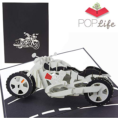 PopLife Motorcycle Pop Up Card for All Occasions - Happy Birthday, Graduation, Congratulations, Retirement, Anniversary, Fathers Day - Over-The-Hill, Bike Model Collectors - Folds Flat for Mailing