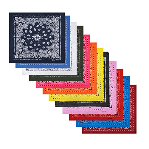 12 Pack Cotton Bandanas with Different Colors for Daily Life