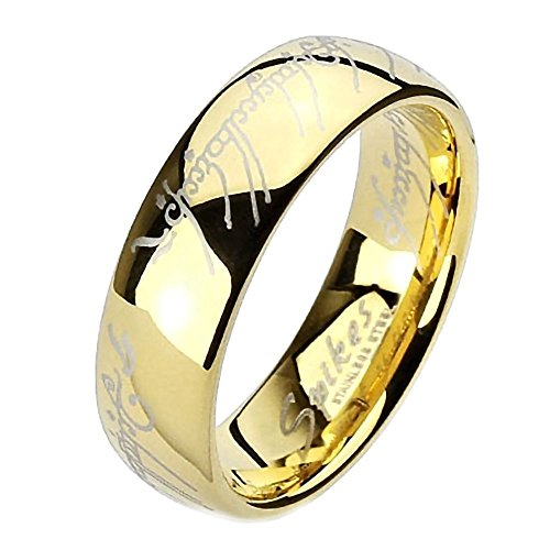 1000 Jewels Eregion: Replica The One Ring Hobbit Lord of, Comfort Fit Ring 316 Steel, 3259B sz 11.0 (The Ring From Lord Of The Rings Inscription)