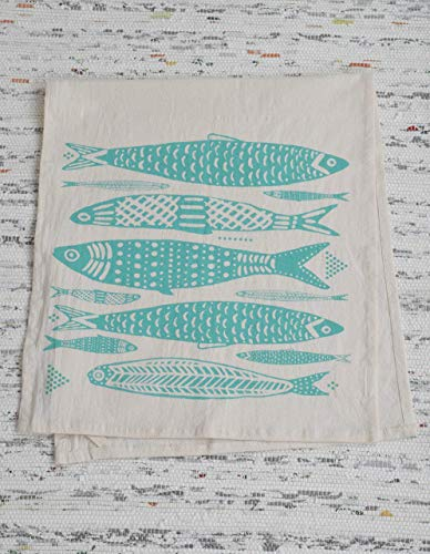 Tea Towel - Organic Cotton - Fish Design in Mint Green- Screen Printed - Flour Sack ()