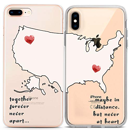 Lex Altern Matching iPhone Cases Xs Max X Xr 10 8 Plus 7 6s 6 SE 5s 5 TPU Distance Love Clear Cute Relationship Map Gift Girlfriend Phone Quote Cover Anniversary Print Heart Present Slim Silicone (Best Friend Iphone Cases)