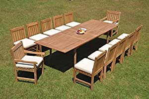 "WholesaleTeak 12 Seats 13 Pcs Grade-A Teak Wood Dining Set: 118"" Double Extension Rectangle Table and 12 Devon Chairs (2 Arm & 10 Armless Chairs) #WHDSDV38"