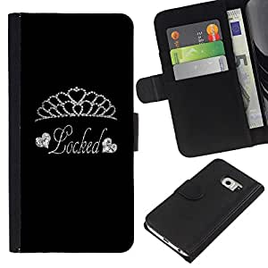 BearCase / Cuero de la tarjeta la carpeta del tirón Smartphone Slots Protección Holder /// Samsung Galaxy S6 EDGE /// Tiara de diamantes de plata Bloqueado