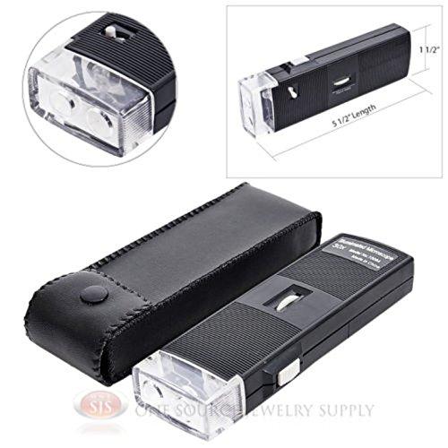 Illuminated Microscope Magnifier 30x Pocket Lighted Magnifying LED Gemstones