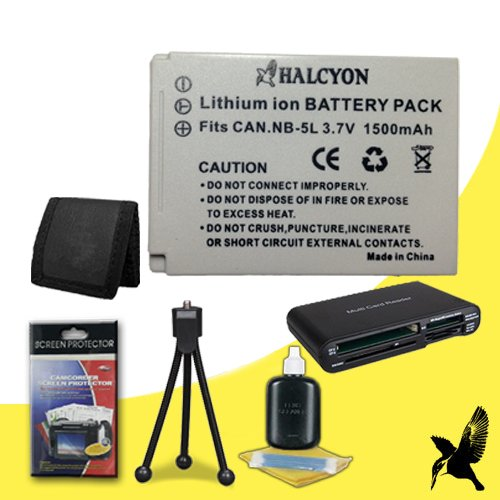 (Halcyon 1500 mAH Lithium Ion Replacement NB-5L Battery + Memory Card Wallet + SDHC Card USB Reader + Deluxe Starter Kit for Canon PowerShot ELPH SD950 IS 12.1 MP Digital Camera and Canon NB-5L)