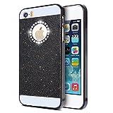 KSHOP iPhone SE 5 5S Case Cover Coque Luxury Bling Diamond Sparkling Glitter PC Back Hard Etui Housse Bright Shinning Skin Cover Shell Anti-scratch Bumper, Black Noir