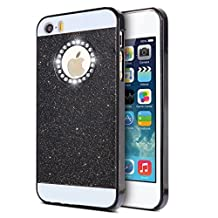 KSHOP iPhone SE 5 5S Case Cover Coque Luxury Bling Diamond Sparkling Glitter PC Back Hard Etui Housse Bright Shinning Skin Cover Shell Anti-scratch Bumper, Black Noir